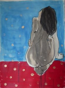 looking at blue 56x76cm mixed media on paper 2015
