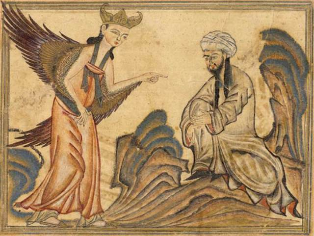 A depiction of Muhammad receiving his first revelation from the angel Gabriel. From the manuscript Jami' al-tawarikh by Rashid-al-Din Hamadani, 1307, Ilkhanate period. Source: Wikipedia
