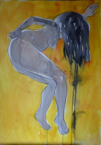 step in yellow 100x70cm ink + acrylics + charcoal on paper 2015