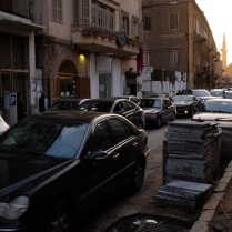 Typical Beirut traffic and the sunset over theMohammad Al-AminMosque