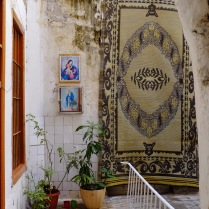 Courtyard with icons in Beirut's Armenian Quarter.